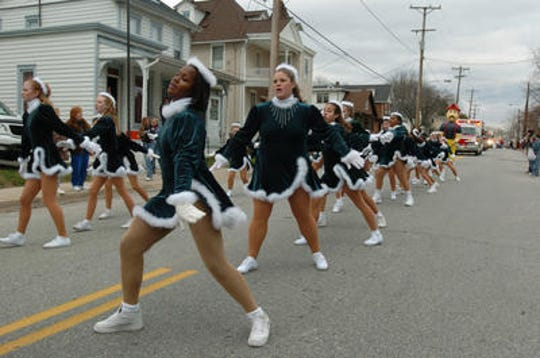 Dancers from the Eagle Dance Studio do their routine in the Elsmere Christmas Parade in 2004.