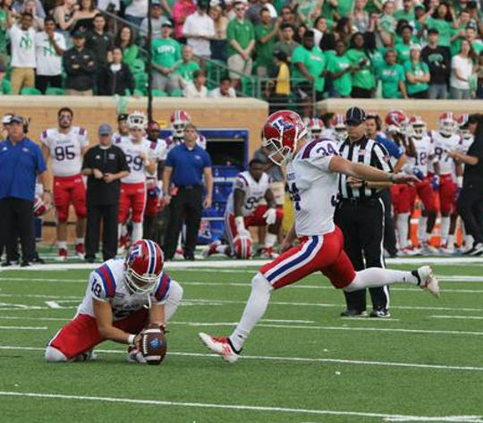 Iowa Park grad Bailey Hale (34) is making a big impact as the Louisiana Tech Bulldogs' kicker. He made five field goals in Saturday's 29-27 win against North Texas.