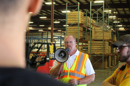 Lee Bugglin, director of residential products operations at The BILCO Company, tried to spark high school students' interest in manufacturing.