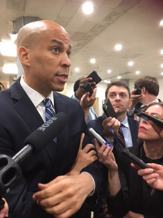 Sen. Cory Booker, D-N.J., a member of the Senate Judiciary Committee, told reporters Oct. 4, 2018 that the FBI report into Brett Kavanaugh raised more questions.