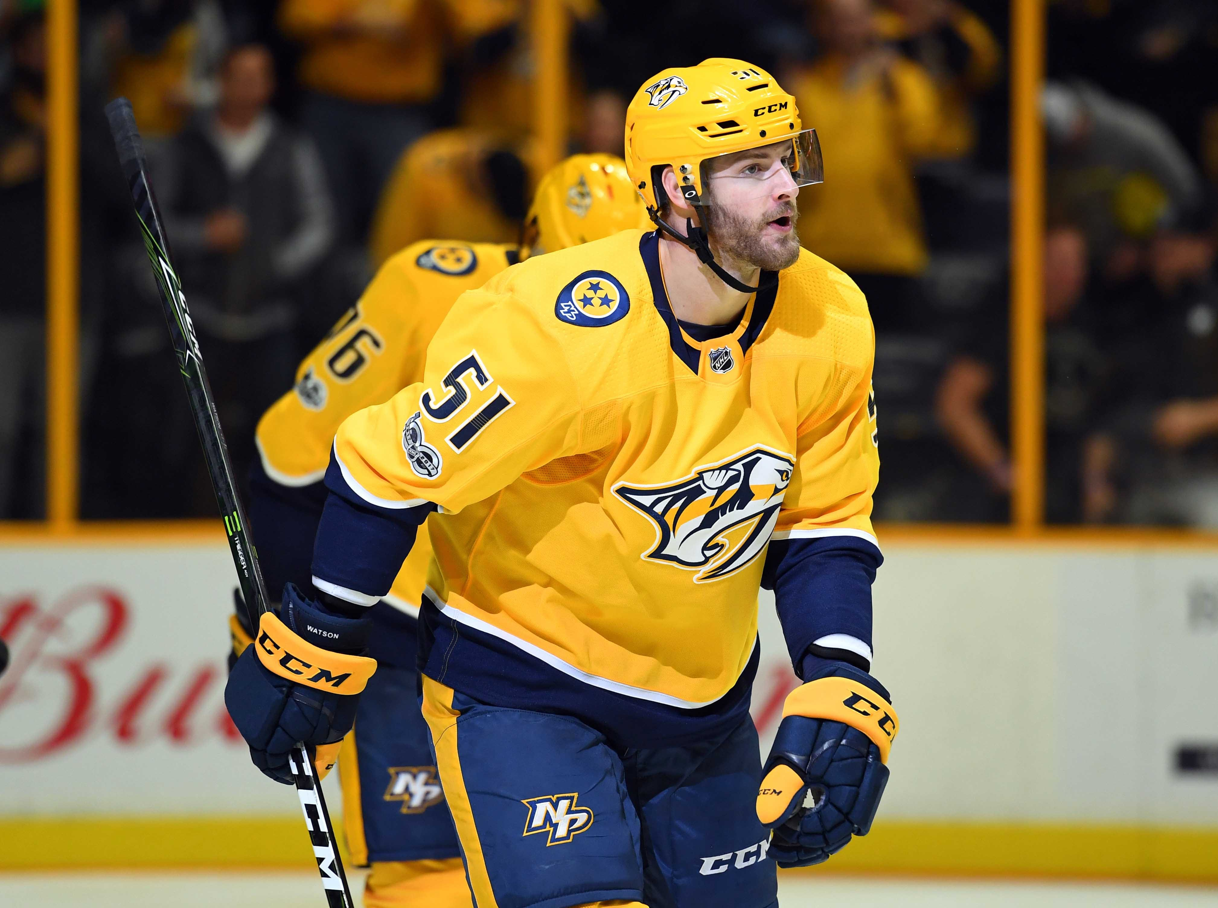 Sep. 7: Nashville Predators left wing Austin Watson was suspended 27 games for a domestic-violence incident. Lost pay: $354,838.71.