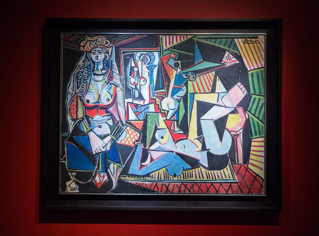 "The art work, ""Les femmes d'Alger (Version O)"" painted by Pablo Picasso is displayed at Christie's on May 11, 2015 in New York City. The painting sold for a record-breaking $179,365,000, USD making it the most expensive painting ever sold."