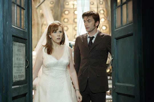 Catherine Tate made her first appearance as Donna Noble when she was swept aboard the Tardis during her wedding. Years later, she was reunited with the Doctor to travel with him.