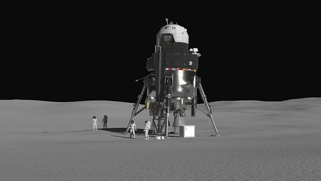 This handout photo obtained October 3, 2018 courtesy of Lockheed Matin shows Lockheed Martin's concept for a crewed lunar lander, accommodating a crew of four and 2000 lbs. of payload.