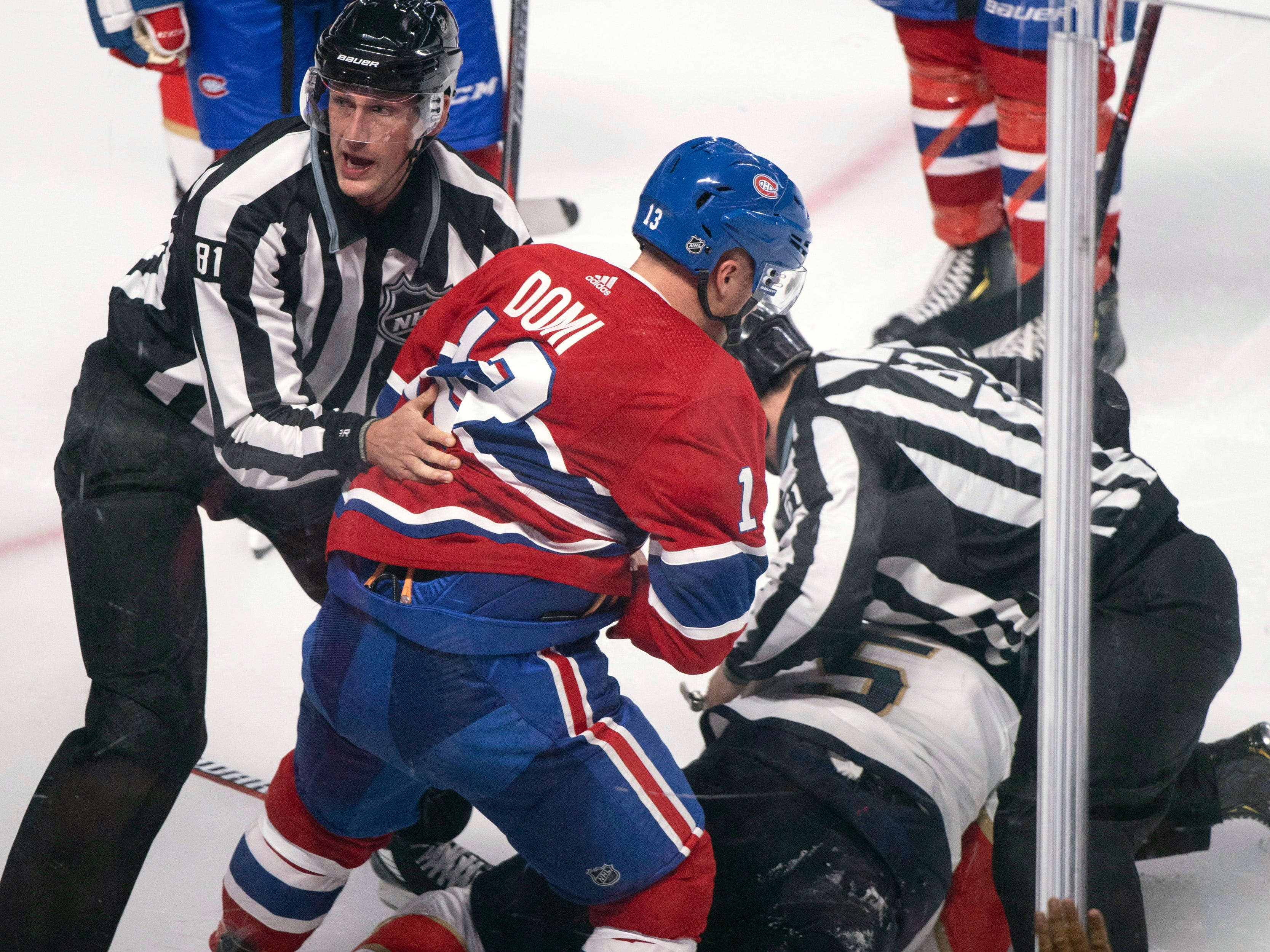 Sept. 19: Montreal Canadiens forward Max Domi was suspended for five preseason games for roughing Florida Panthers defenseman Aaron Ekblad.