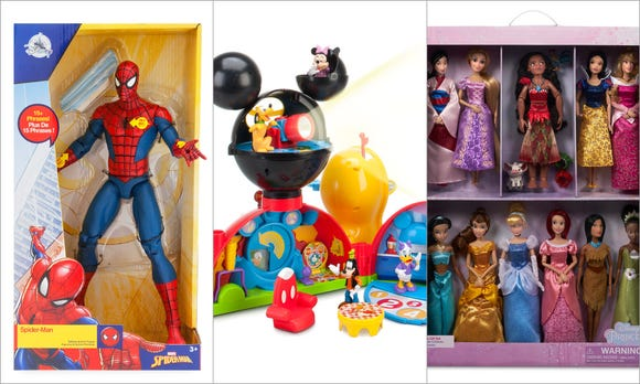 Spider-Man, Mickey Mouse Clubhouse and Disney Princesses are among the Disney store/shopDisney's Top 15 Holiday Toys of 2018.