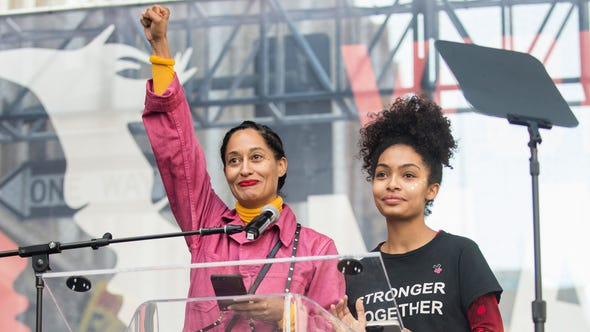 Tracee Ellis Ross and Yara Shahidi took to  the Women's March to speak out in Los Angeles on January 21, 2017.