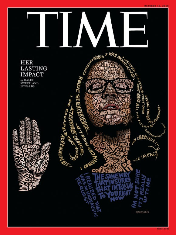 The Time magazine cover illustration uses typography to capture Christine Blasey Ford as she takes her oath in front on a Senate committee.
