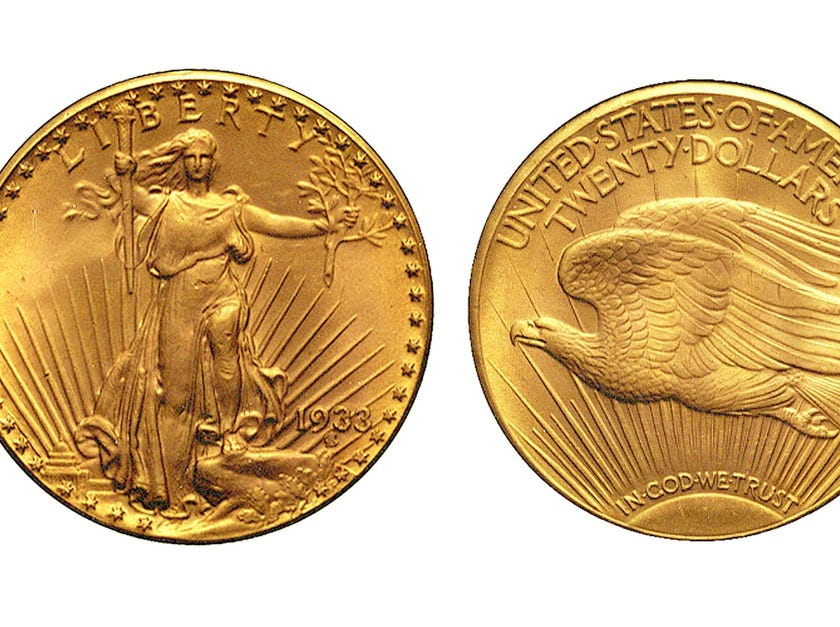 These images obtained by the US Mint on July 29, 2002, show the front (L) and reverse of the 1933 Saint Gaudens Double Eagle gold coin. The coin is the only remaining 1933 double eagle. Sotheby's and Stacks sold it for $7.6 million USD.