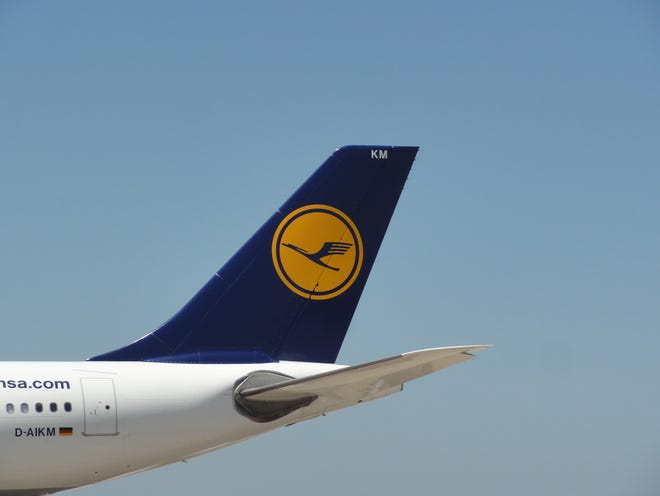 The tail of a Lufthansa Airbus A330 jet is seen at Washington Dulles International Airport on July 26, 2011.