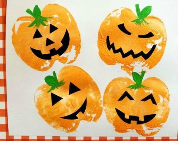 Pumpkin apple stamps.