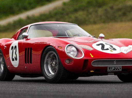 RM Sotheby's auction house shows a 1962 Ferrari 250 GTO by Scaglietti. The car was sold at an auction on Aug. 25, 2018, for $48.4 million USD (41,7 million euro) to become the most valuable car ever offered at an auction.