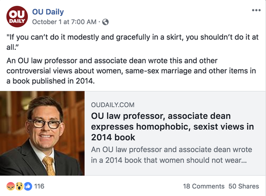 Ou College Of Law Dean Resigns Wrote Women Must Veil Their Form