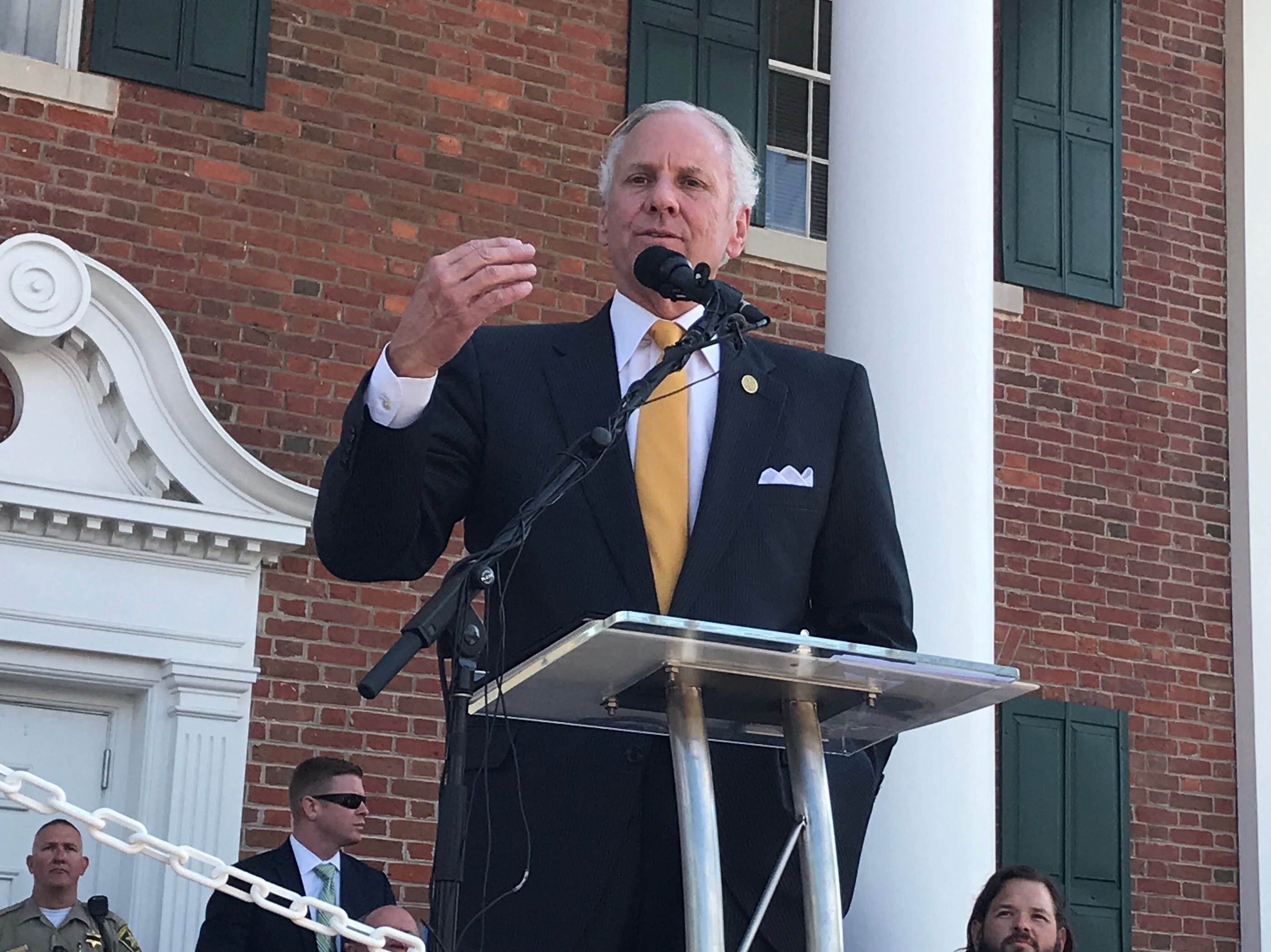Gov. Henry McMaster addresses a crowd of about 300 in front of the Pickens County courthouse Friday as officials opened a time capsule in celebration of the county's Sesquicentennial.
