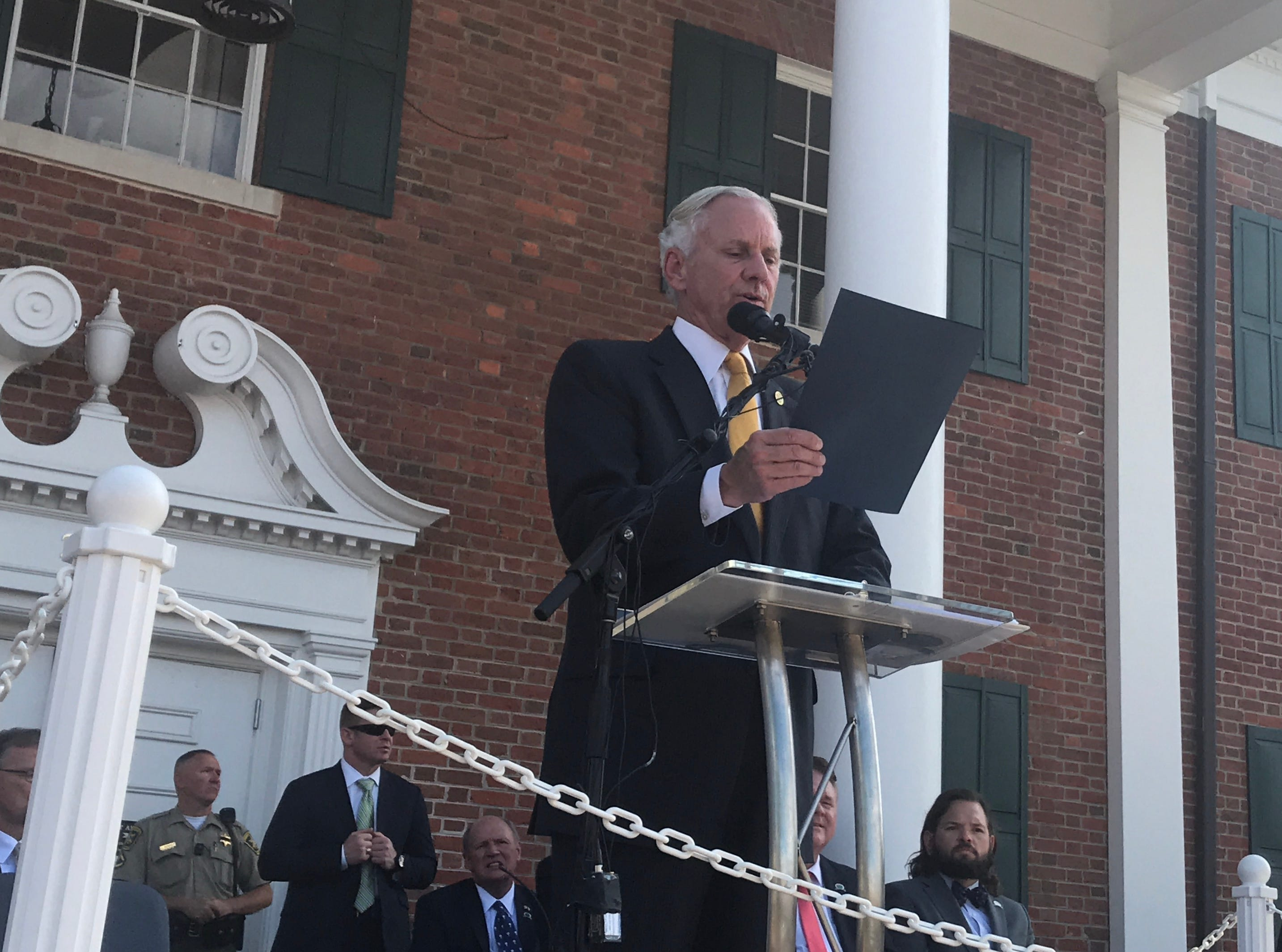 Gov. Henry McMaster reads a proclamation declaring Oct. 5-6 Pickens County Days in South Carolina.