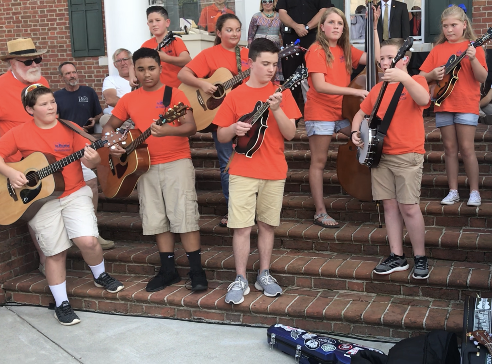 The Sweet Potato Pie Kids, a group of Pickens County students, perform at the time capsule opening for the Pickens County Sesquicentennial.