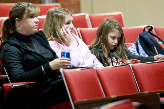 Parent and students attend a financial aid workshop Wedneday, Sept. 26, 2018, at Tri-County High School Auditorium in Plainfield, Wis.