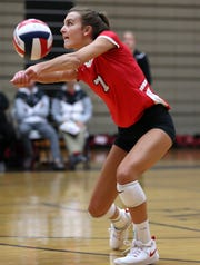 Neenah's Addie Barnes bumps the ball during their match against Appleton North on Oct. 4. Danny Damiani/USA TODAY NETWORK-Wisconsin