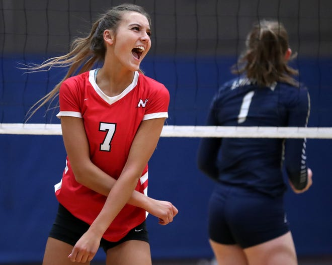 Neenah's Addie Barnes celebrates after scoring a point against Appleton North during a match Oct. 4 in Appleton. Danny Damiani/USA TODAY NETWORK-Wisconsin