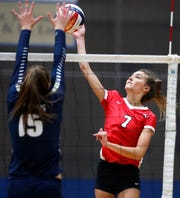 Neenah's Addie Barnes tries to send the ball past Appleton North's Taylor Vanden Berg during a match Oct. 4 in Appleton. Danny Damiani/USA TODAY NETWORK-Wisconsin