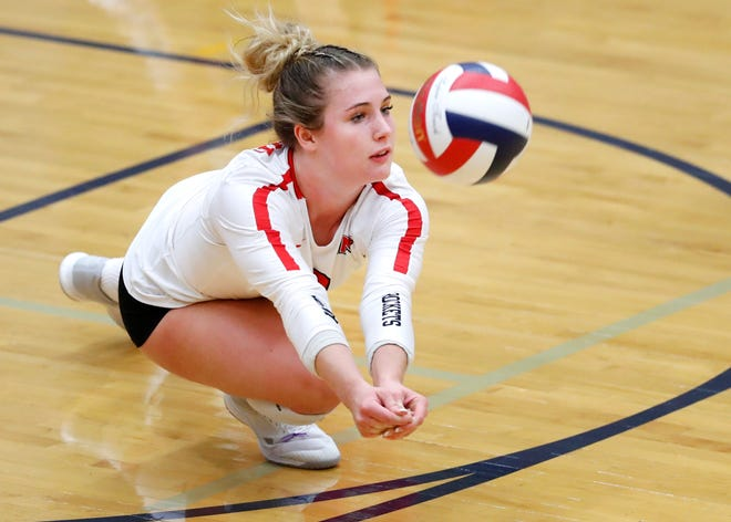 Neenah's Kayla Kraus dives for the ball during their match against Appleton North on Thursday in Appleton. Danny Damiani/USA TODAY NETWORK-Wisconsin