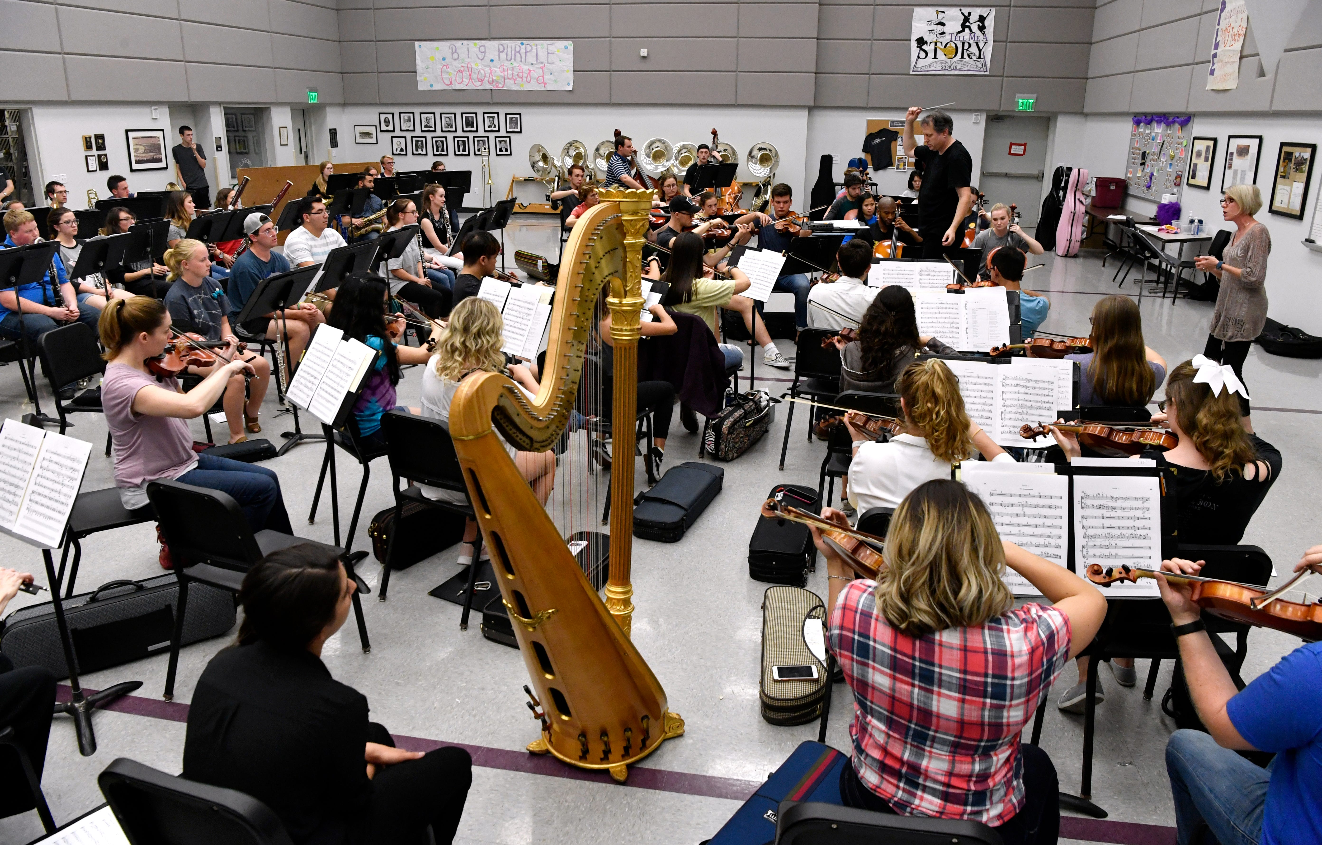 Steven Ward, the Abilene Christian University director of bands and orchestra, conducts the Civic Orchestra of Abilene during a rehearsal Thursday.