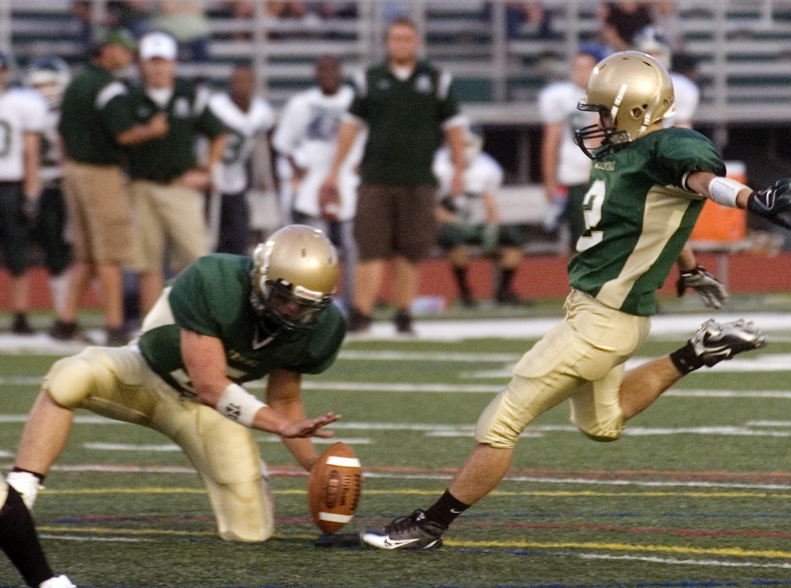 In 2008, Vestal's Nick Anderson goes for the extra point in the first quarter of the season-opener against Elmira South Side at Dick Hoover Stadium.