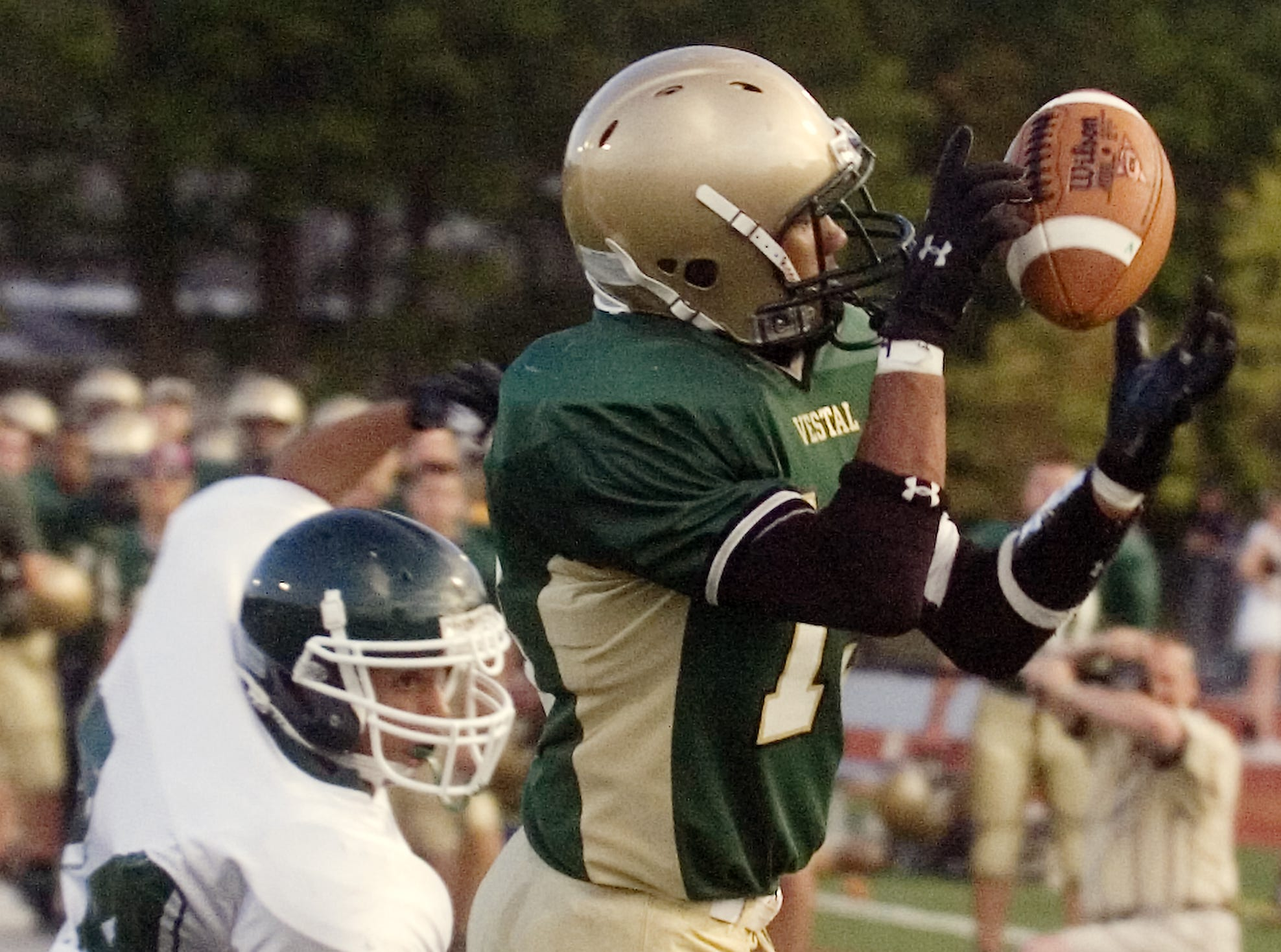 In 2008, Vestal's Kameron Sowell gets by Elmira South Side's David Hall to make a catch in the end zone for a touchdown in the first quarter of the season-opener against Elmira South Side at Dick Hoover Stadium.