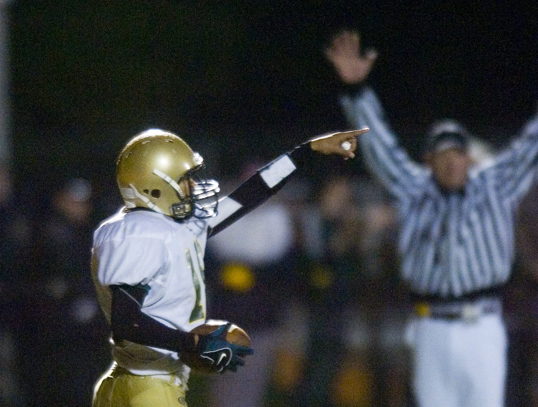 In 2007, Vestal's Kameron Sowell celebrates his second touchdown in the1st half with Union-Endicott Saturday.