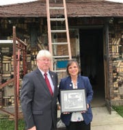 Johnson City Mayor Greg Deemie and Assemblywoman Donna Lupardo at the announcement of the grant to restore the pagoda.