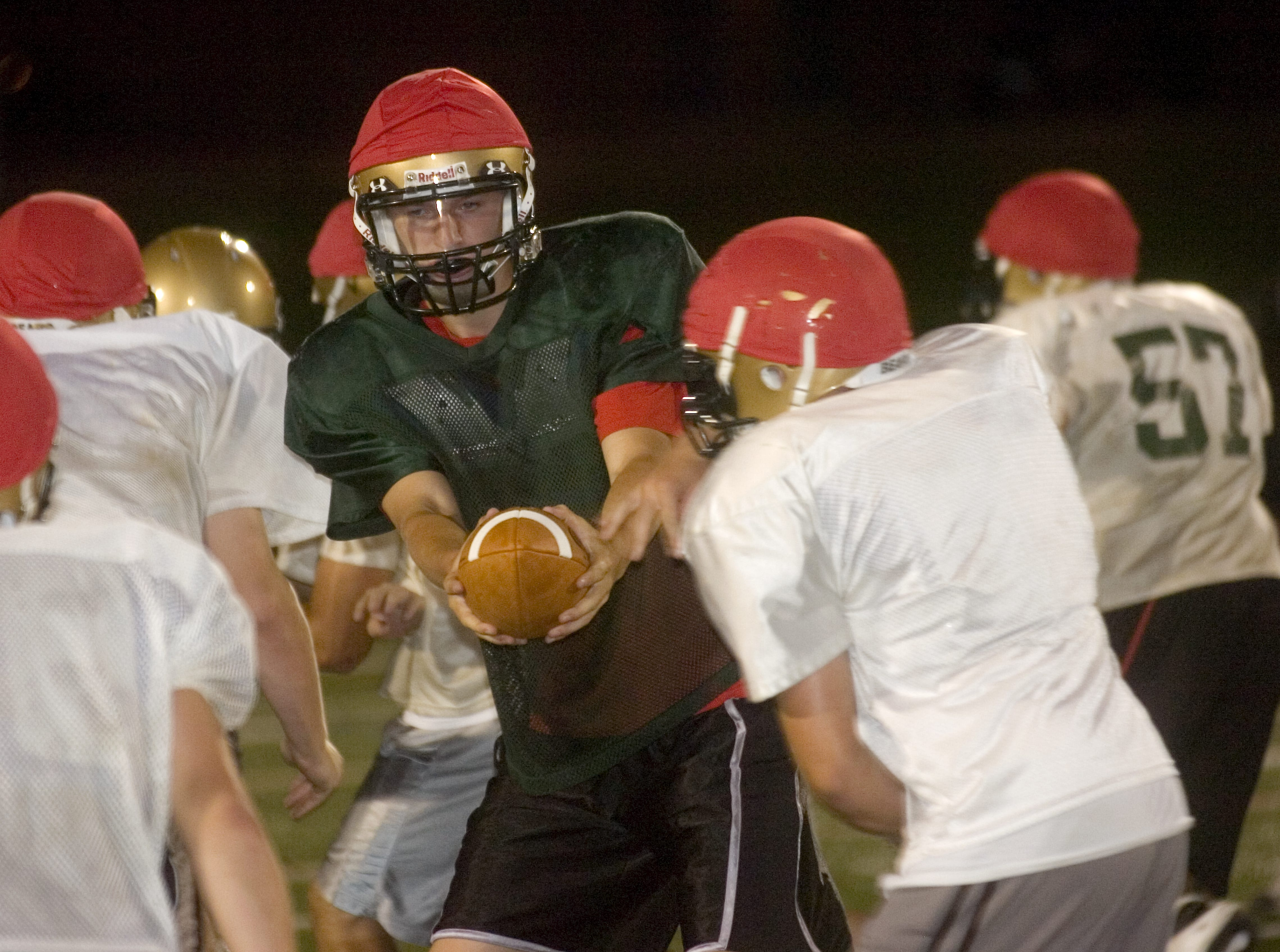 Vestal High School quarterback Caleb Scepaniak practices in 2009 at Dick Hoover Stadium in Vestal.