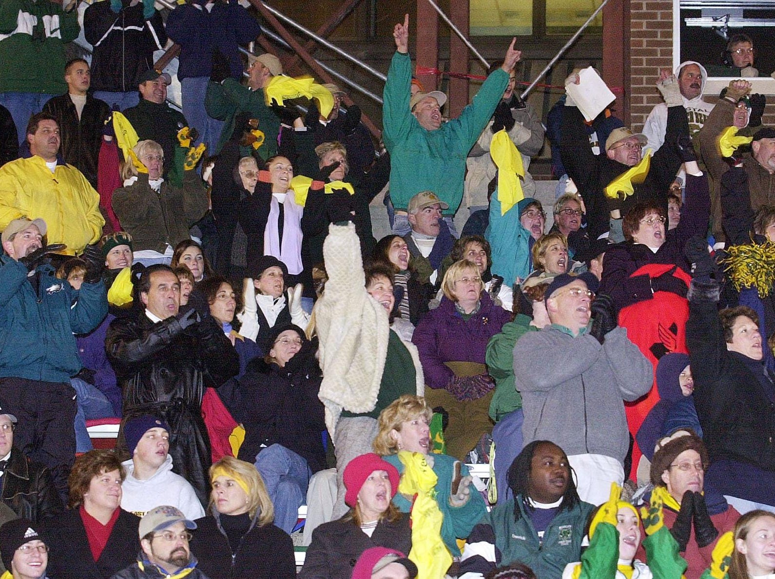 In 2001, Vestal fans cheer on their Golden Bears Football team as they scored the third touchdown of the first half against the Binghamton Patriots in the Section IV Class AA Championship Game held at Union-Endicott High School.