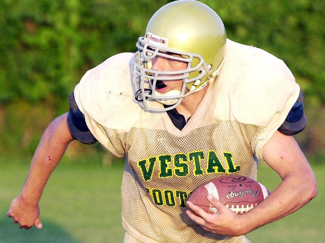 In 2000, Chris Slater hustles down the field during a practice drill at Vestal High School.