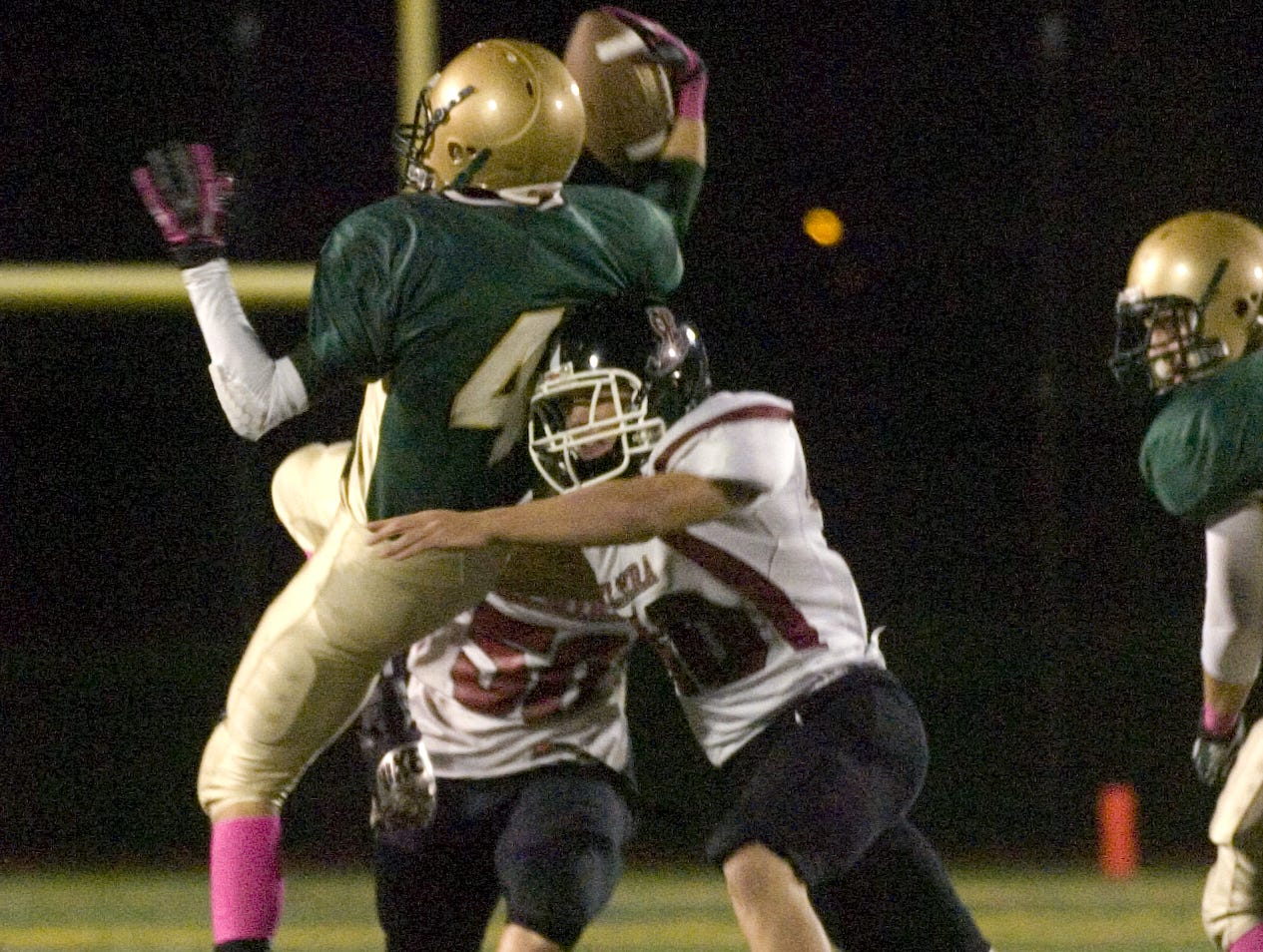 In 2012, Elmira's Josh Townsend tackles Vestal's Andrew O'Hara in the first half at Dick Hoover Stadium.