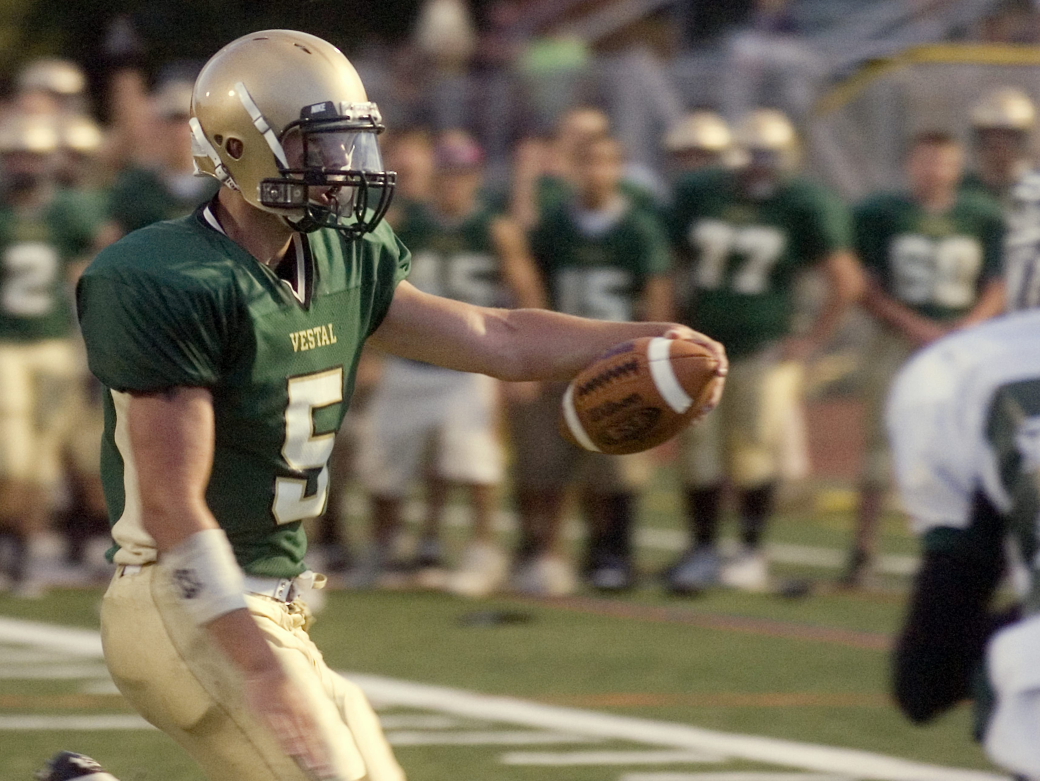 In 2008, Vestal's Cody Scepaniak carries the ball into the end zone for a touchdown in the first quarter of the season-opener against Elmira South Side at Dick Hoover Stadium.