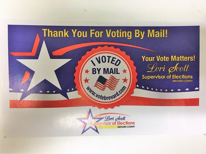 Brevard County voters who request a vote-by-mail ballot now will be getting this sticker with the mail ballot.