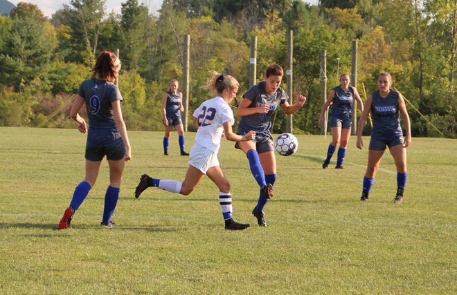Vergennes' Emily Rooney, in action earlier this season, scored the game-winning goal in double overtime as Vergennes advanced to the D-III girls soccer championship game.