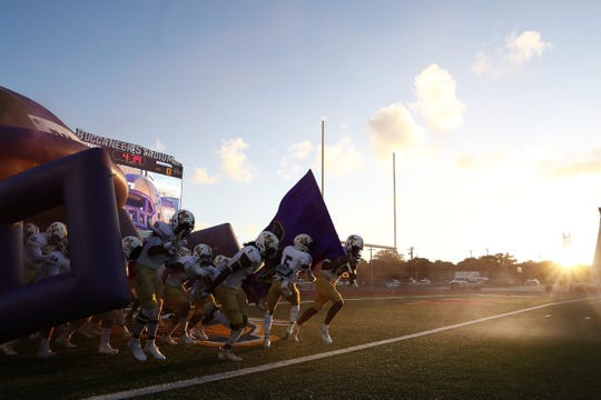 Carroll Tigers vs. Miller Bucs at Buc Stadium in Corpus Christi, Texas on Oct. 4, 2018.