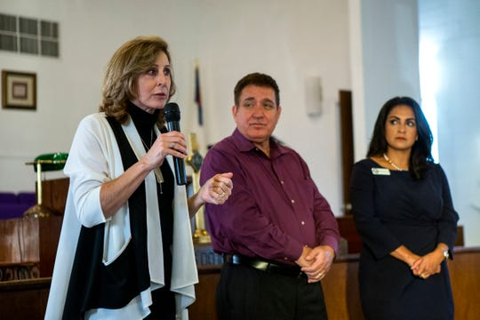Council members Debbie Lindsey-Opel (from left) Rudy Garza Jr. and Paulette Guajardo respond to questions and comments during a meeting with Corpus Christi residents and city council members and candidates to figure out the cityÕs water bill issues across Corpus Christi, and in the Hillcrest neighborhood, at Brooks AME Worship Center on Thursday, October 4, 2018.