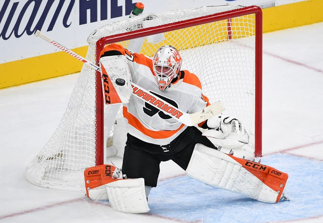 Brian Elliott looked sharp Thursday night and made 23 saves on 25 shots. It was a big difference from most of what his training camp looked like.