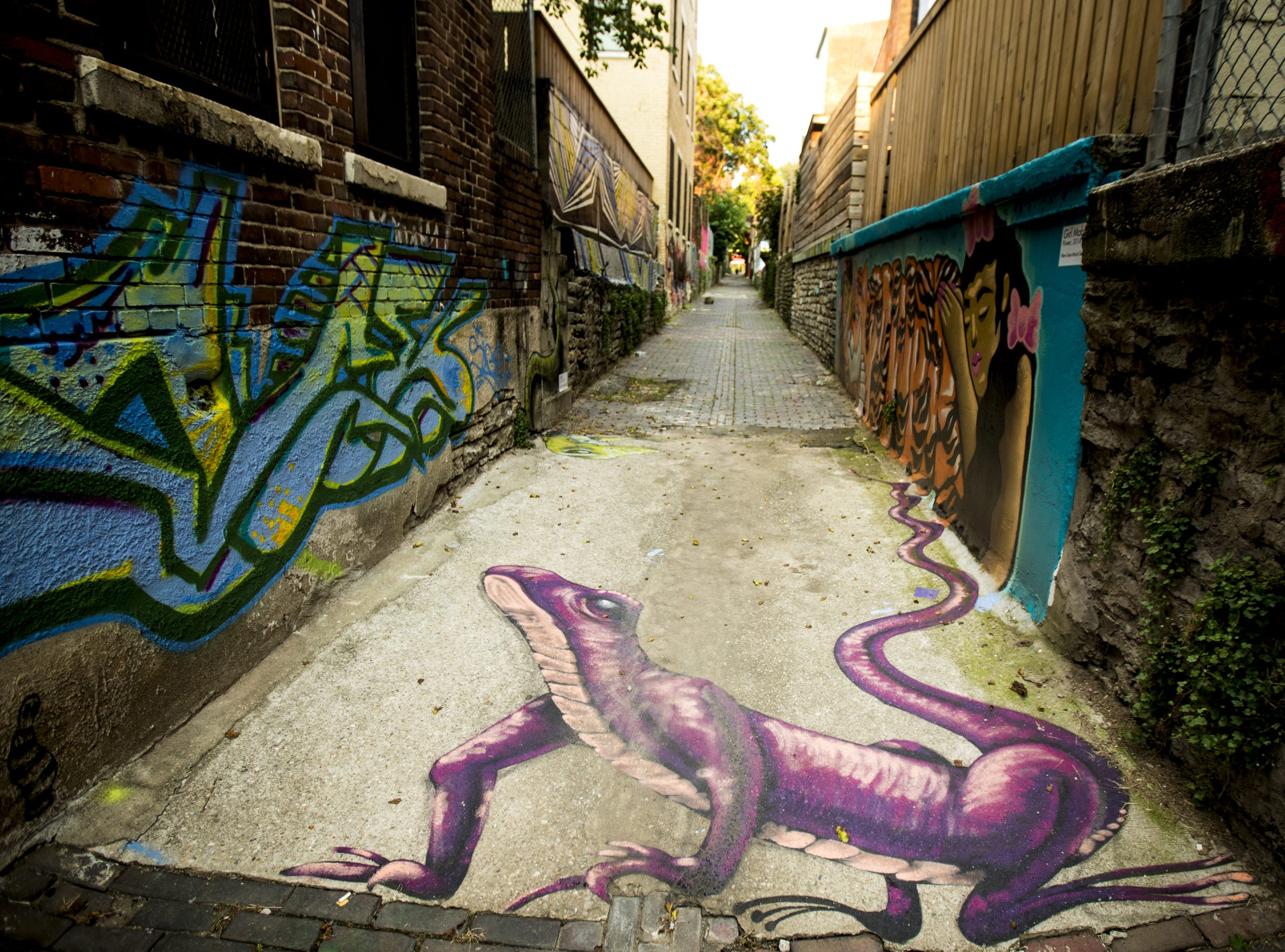 Wednesday, September 19, 2018: ÒLizzurdsÓ designed by OGRE is featured in Bolivar Alley in Pendleton as part of New Lines Alleyway Murals: Phase II by ArtWorks.