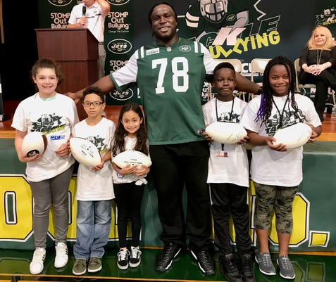New York Jets visit Linden elementary school to help tackle bullying