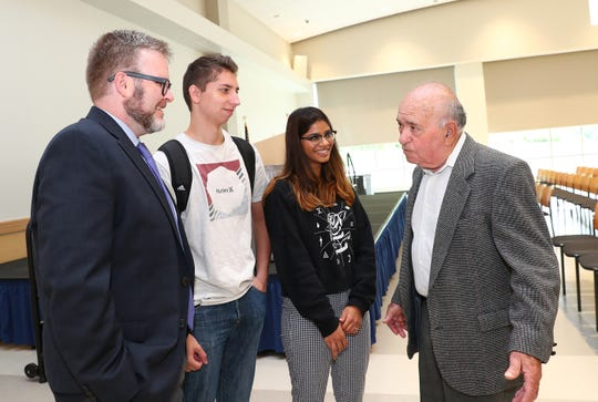 Left: Professor Terrence Corrigan of the History and Social Sciences Department and director of the MCC Holocaust and Human Rights Center; Nick Provenzano and Chelsea Patel, members of the History and Human Rights student club; and Sol Lurie.