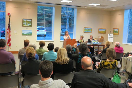 "Author Jenny Milchman at an appearance at the Bernardsville Library. Her newest book is ""Wicked River."""