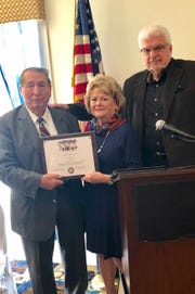 Herb Patullo (left) was presented with the Chapel of Four Chaplains Legion of Honor award by Lynn Fazen of Believe In Bound Brook, and Andrew Calandrillo of the Chapel of Four Chaplains Foundation.