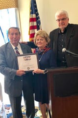Herb Patullo (left) was presented with the Chapel of Four Chaplains Legion of Honor award by Lynn Fazenof Believe In Bound Brook, and Andrew Calandrillo of the Chapel of Four Chaplains Foundation.