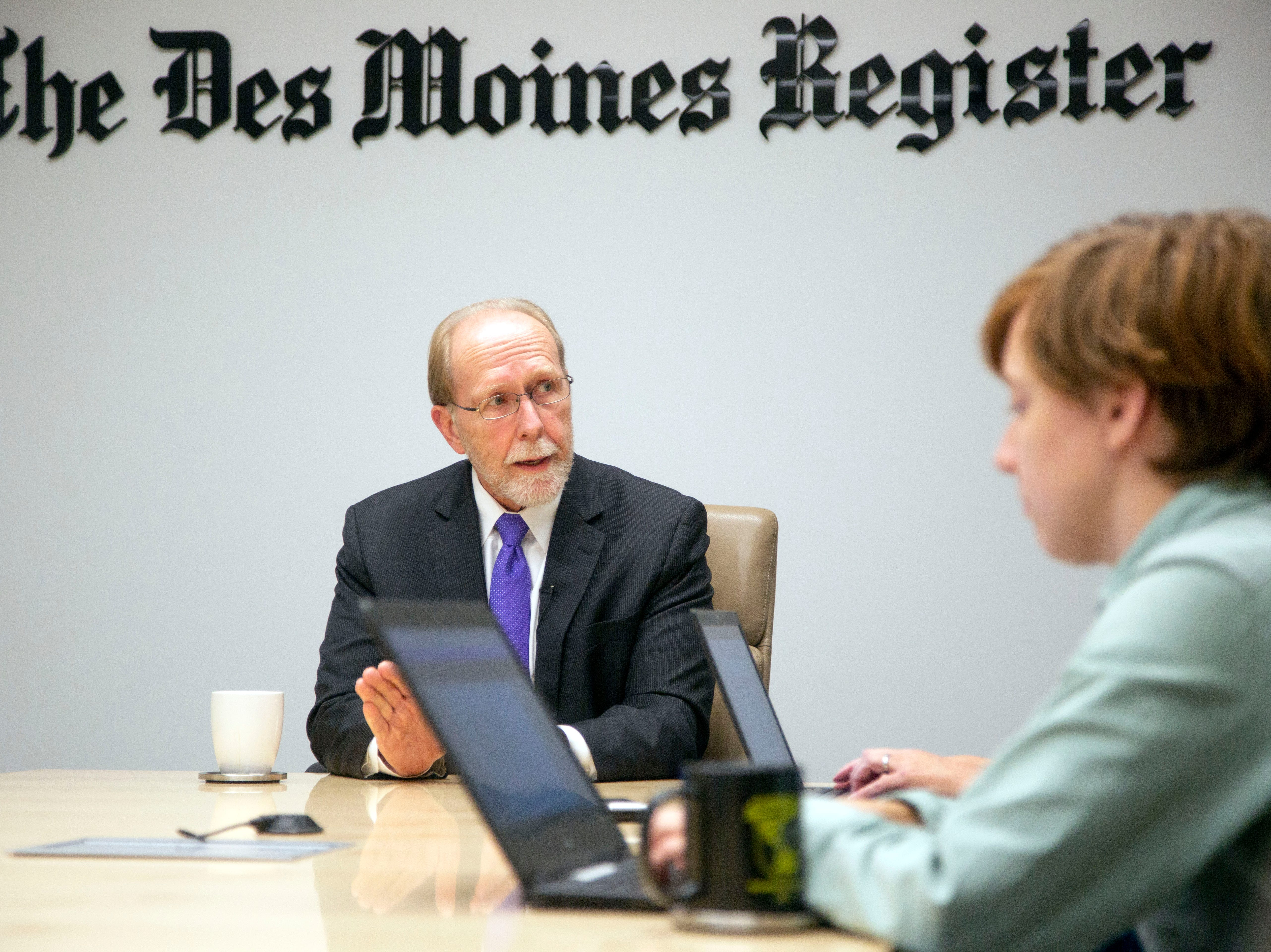 Rep. Dave Loebsack, incumbent Democrat in the U.S. 2nd House District race, speaks to the Des Moines Register Editorial Board Friday, Oct. 5, 2018.