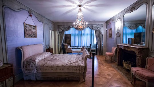 Edith Weeks' bedroom is decorated in the style of Louis XV at the Salisbury House in Des Moines, Iowa, Thursday, Oct. 4, 2018.