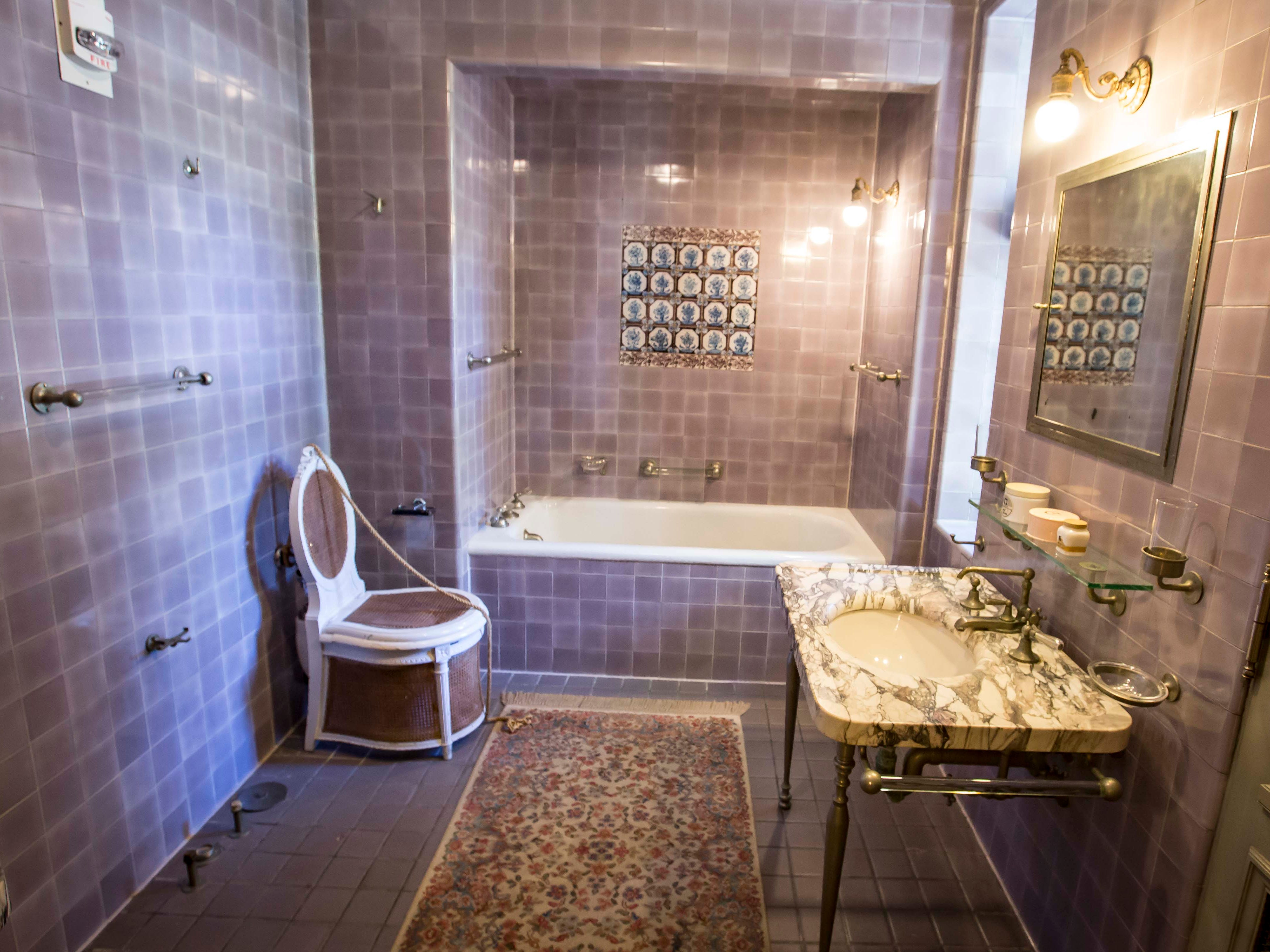 The private bathroom for Edith Weeks is decidedly feminine