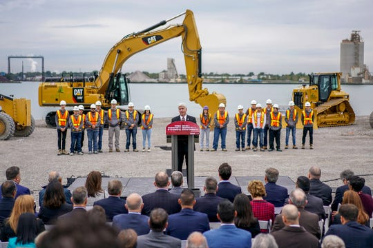 Michigan Governor Rick Snyder speaks during the ceremony celebrating the official start of construction on the Gordie Howe International Bridge project in Windsor, Ontario, Canada on Friday, Oct. 5, 2018.